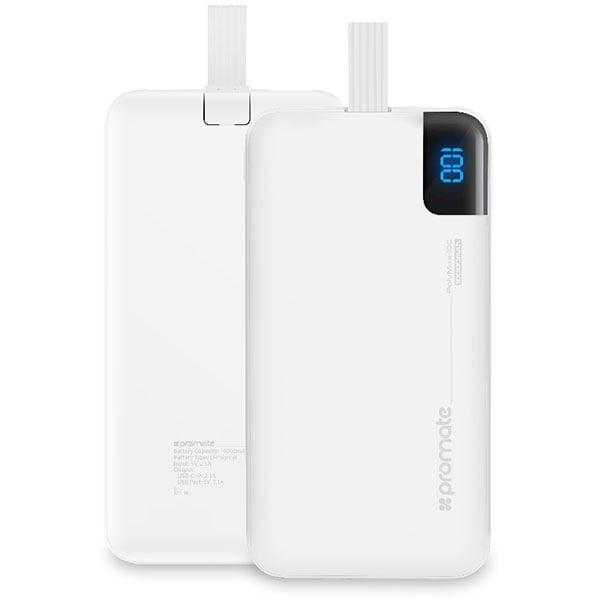 Baterie externa PROMATE polyMax-10C, 10000mAh, Type C, 2xUSB, alb