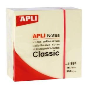 Cub notite adezive  APLI, 400 file, 75 x 75mm, galben