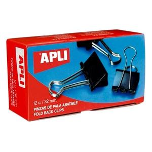 Clipsuri metalice pentru hartie APLI, 51 mm, 12 buc/cutie, negru