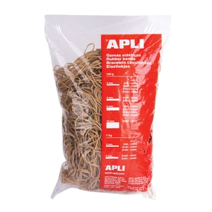 Elastice pentru bani APLI, 100 mm, latime 2 mm, 1000 g/punga