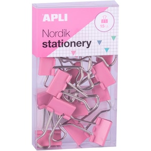 Clipsuri metalice APLI Nordik Stationery, 15 bucati, diverse culori