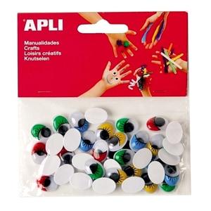 Set creativ APLI Ochisori adezivi rotunzi, 100 bucati, diverse culori