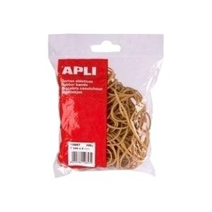 Elastice pentru bani APLI, 100 mm, latime 2 mm, 100 g/punga