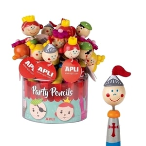 Creion party APLI Printesa/Pirat, 24 bucati, diverse culori