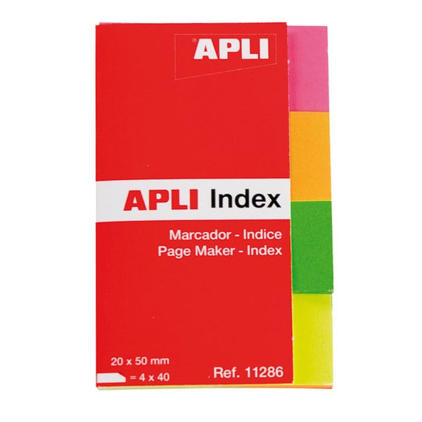 Index autoadeziv APLI, 20 x 50 mm, hartie, 4 x 40 file, diverse culori