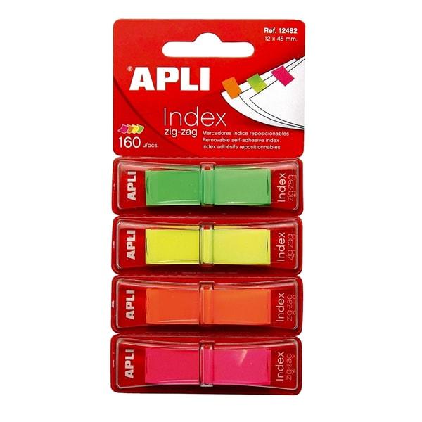 Index APLI Pop-up, 12 x 45 mm, hartie, plastic, 4 x 40 file, diverse culori