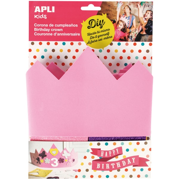 Coroana pentru aniversari APLI, 10 numere, 24 forme, spuma, roz