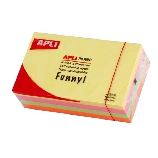 Notite autoadezive colorate  APLI, 400 file, 125 x 75mm, diverse culori