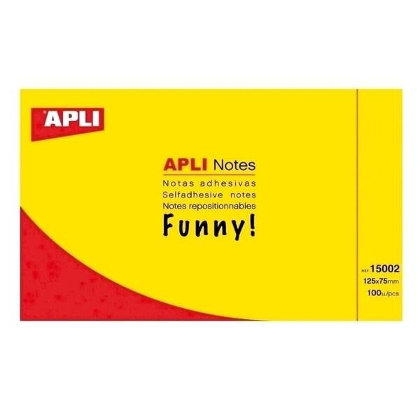 Notite adezive APLI, 100 file, 125 x 75mm, galben