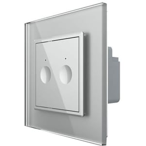 Intrerupator touch dublu cap-scara/cruce LIVOLO 722100415 + C7-SR-15, incastrat, 5A, IP44, gri