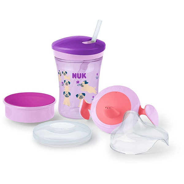 Cana 3 in 1 NUK Evolution 10255397, 6 luni+, 230ml, roz-gri