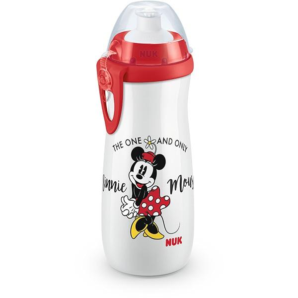 Cana cu sistem push-pull NUK Sport Mickey Mouse 10255415, 3 ani+, 450ml, rosu-transparent