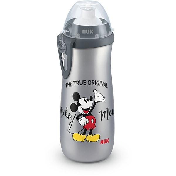 Cana cu sistem push-pull NUK Sport Mickey Mouse 10255416, 3 ani+, 450ml, gri