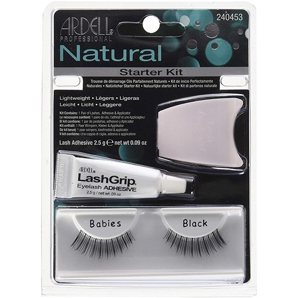 Kit Gene false ARDELL Natural Babies Black: Gene false banda ARDELL Natural Babies Black + Adeziv gene false ARDELL LashGrip, 2.5g + Aplicator gene false ARDELL, alb