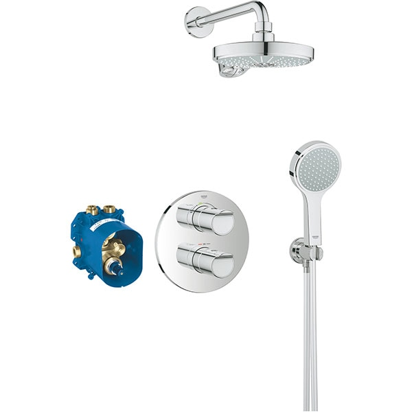 Sistem dus GROHE Grohtherm 2000 Power Soul 190 34283001, termostat, 3 functii, crom