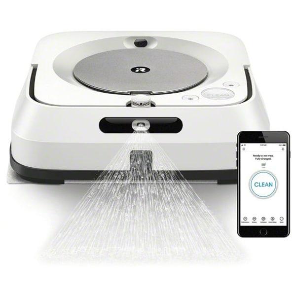 Mop robot IROBOT Braava jet m6, 0.45l, Navigatie iAdapt, Aplicatie iRobot Home, alb-argintiu