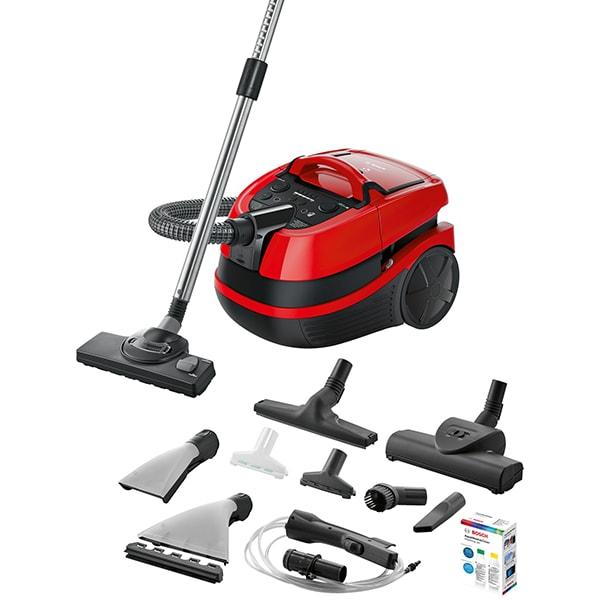 Aspirator cu spalare BOSCH AquaWash&Clean BWD421PET, 5l, 2100W, negru-rosu