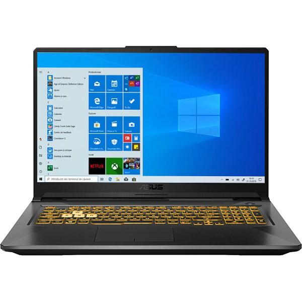 "Laptop Gaming ASUS TUF A17 FA706QM-HX001T, AMD Ryzen 7 5800H pana la 4.4GHz, 17.3"" Full HD, 16GB, SSD 1TB, NVIDIA GeForce RTX 3060 6GB, Windows 10 Home, gri inchis"