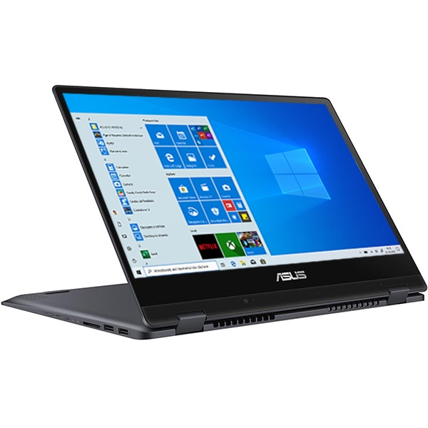 "Laptop 2 in 1 ASUS VivoBook Flip TP412FA-EC595, 14"" Full HD Touch, Intel Core i3-10110U pana la 4.1GHz, 4GB, SSD 256GB, Intel UHD Graphics, Windows 10 Home S, gri inchis"