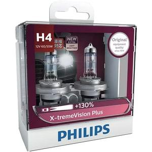 Set becuri auto PHILIPS Xtreme Vision+, 130%, H4, 3600K, 60/55W, 2 buc