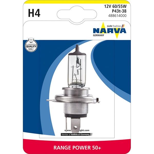 Bec auto halogen pentru far NARVA Range Power, +50%, H4 12V, 60/55W, P43T, 1 bucata