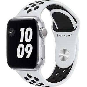 Apple Watch Nike Series 6, 40mm Silver Aluminium Case, Pure Platinum/Black Nike Sport Band