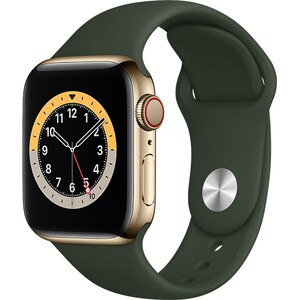 Apple Watch Series 6 GPS + Cellular, 40mm Gold Stainless Steel Case, Cyprus Green Sport Band