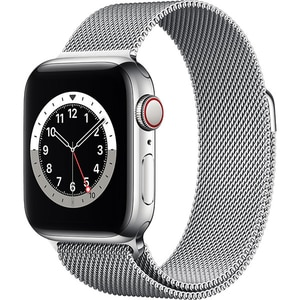 Apple Watch Series 6 GPS + Cellular, 44mm Silver Stainless Steel Case, Silver Milanese Loop