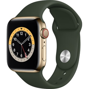 Apple Watch Series 6 GPS + Cellular, 44mm Gold Stainless Steel Case, Cyprus Green Sport Band