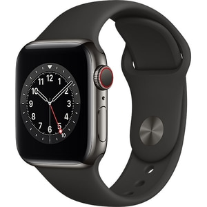 Apple Watch Series 6 GPS + Cellular, 44mm Graphite Stainless Steel Case, Black Sport Band
