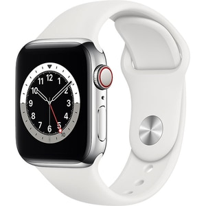 Apple Watch Series 6 GPS + Cellular, 44mm Silver Stainless Steel Case, White Sport Band