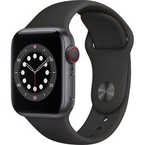 Apple Watch Series 6 GPS + Cellular, 44mm Space Grey Aluminium Case, Black Sport Band