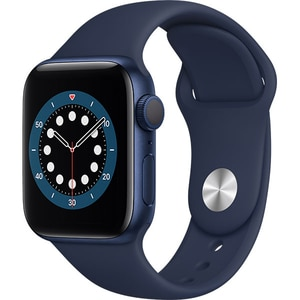 Apple Watch Series 6, 44mm Blue Aluminium Case, Deep Navy Sport Band
