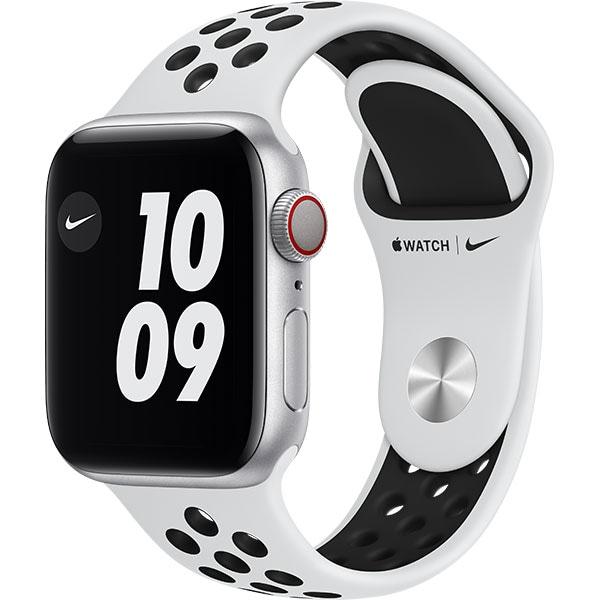 Apple Watch Nike Series 6 GPS + Cellular, 40mm Silver Aluminium Case, Pure Platinum/Black Nike Sport Band