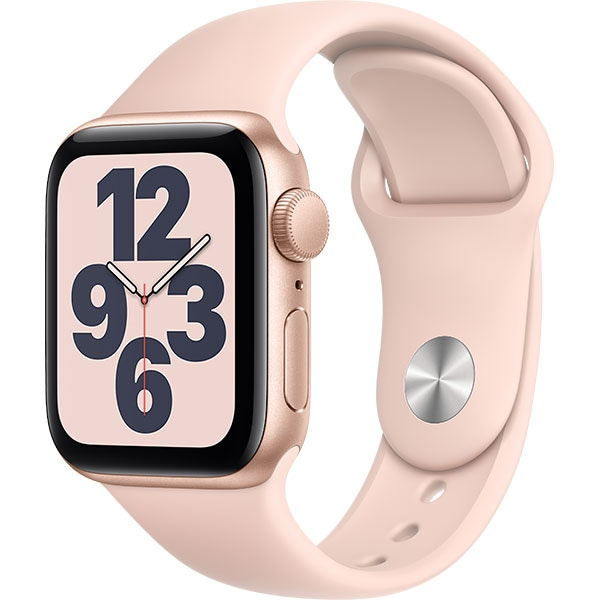 Apple Watch SE, 44mm Gold Aluminium Case, Pink Sand Sport Band
