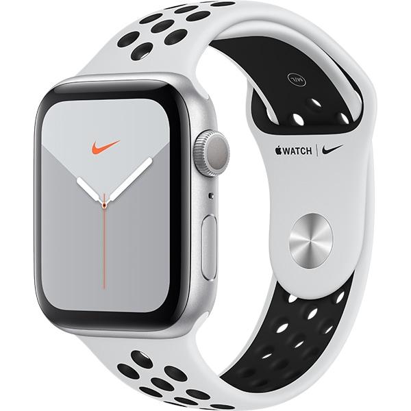 APPLE Watch Series 5 44mm Silver Aluminium Case, Pure Platinum/Black Nike Sport Band