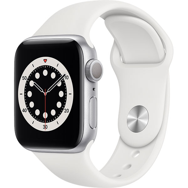 Apple Watch Series 6, 40mm Silver Aluminium Case, White Sport Band