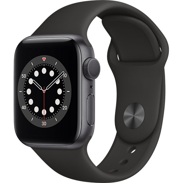 Apple Watch Series 6, 44mm Space Gray Aluminium Case, Black Sport Band