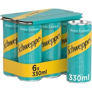 Bautura racoritoare carbogazoasa SCHWEPPES BITTER LEMON bax 0.33L x 6 cutii