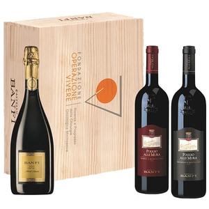 Pachet vinuri Bamfi Metodo Classico, Rosso di Montalcino, Brunello di Montalcino, 0.75L, 3 sticle + cutie lemn (1 x vin spumant \ 2x vin rosu)