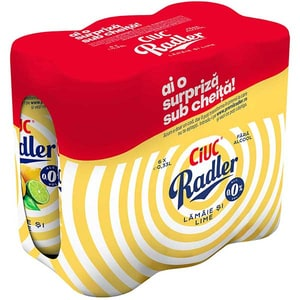 Bere cu arome fara alcool Ciuc Radler Lemon bax 0.33L x 6 cutii