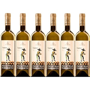 Vin alb sec Hermeziu Pacatele Tineretii Traminer, 0.75L, 6 sticle
