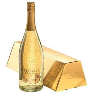 Vin spumant demisec cu foita de aur alimentar 23K Osterreich Gold, 0.75L