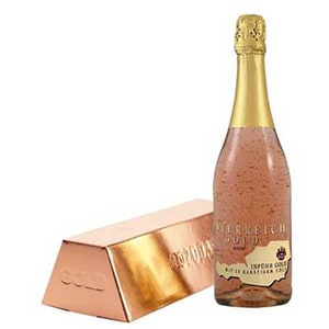 Vin spumant demisec cu foita de aur alimentar 23K Osterreich Gold Rose, 0.75L