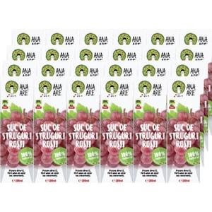 Suc natural ANA ARE, natural 100%, Struguri rosii, bax 0.2L x 24 cutii