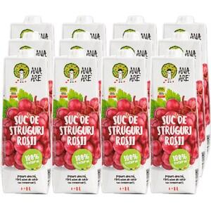 Suc natural ANA ARE, natural 100%, Struguri rosii, bax 1L x 12 cutii