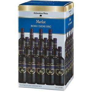 Vin rosu demisec Schwaben Wein Merlot, 10L, Bag in Box