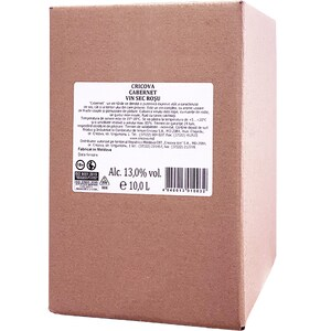 Vin rosu sec Cramele Cricova Cabernet Sauvignon, 10L, Bag in Box
