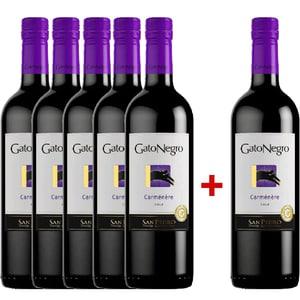 Vin rosu sec San Pedro Gato Negro Carmenere 0.75L, 5+1 sticle