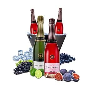Vin spumant rose si alb Pere Ventura, 0.75L Vin spumant rose, 0.75L, 3 + 1 sticle + Frapiera